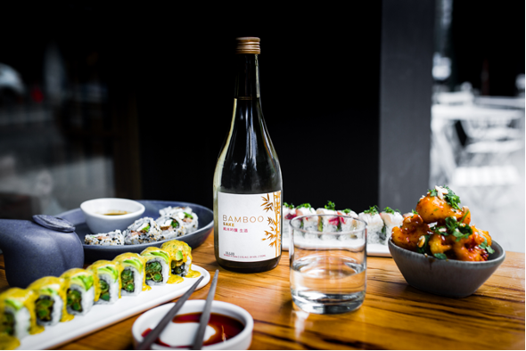 Sushi and Sake on a Table